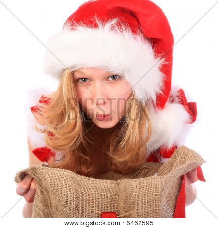 Amazed Miss Santa With Christmas Bag