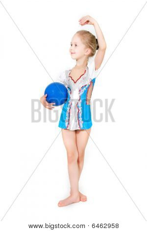 young girl with sport ball posing over white poster