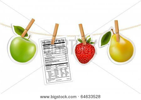 Fruit stickers and a nutrition label hanging on a rope. Vector.