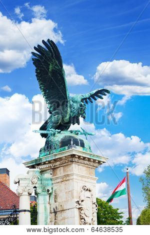 Turul Statue on Habsburg Gates, Buda castle, Royal palace in Budapest Hungary poster