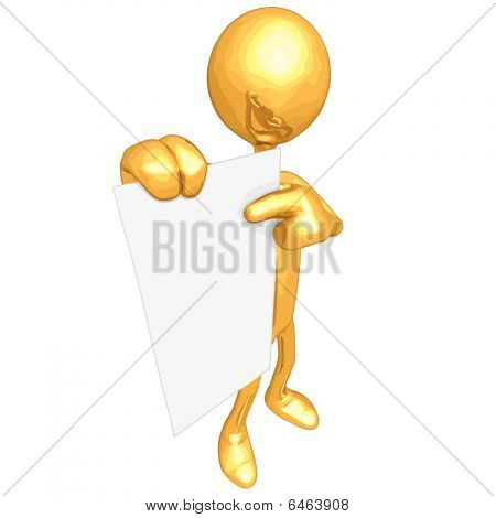 Gold Guy With Blank Paper