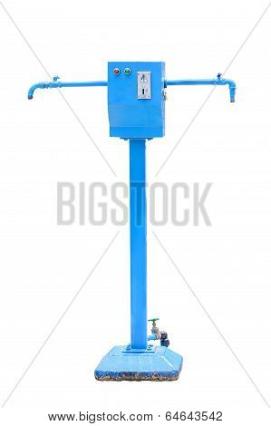 Water supply by coin operated vending machine isolated on white poster