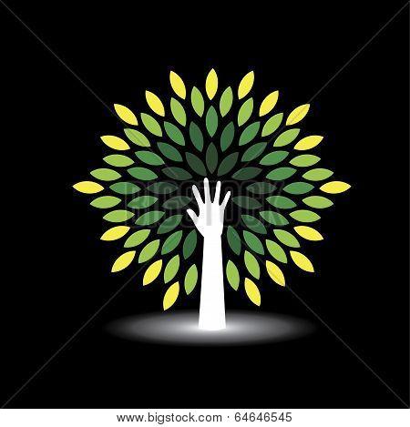 Eco Friendly Icon Human Hand As Tree With Green Leaves - Concept Vector