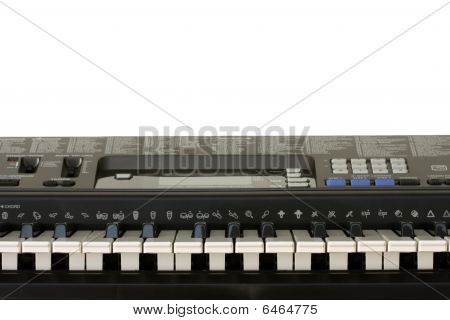 Electronic organ keyboard on white background with clipping path poster