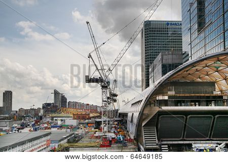 LONDON, UK - APRIL 24, 2014: Building site with cranes Canary Wharf aria, one of the leading centres