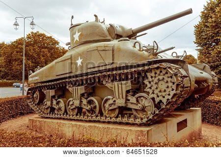 Omaha Beach, Normandy,Ferance.- August 9: Tanks in American War Cemetery on August 9, 2013. American War Cemetery at Omaha Beach, Normandy (Colleville sur Mer ) France.