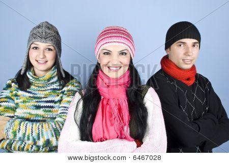 Happy Friends People In Winter Season