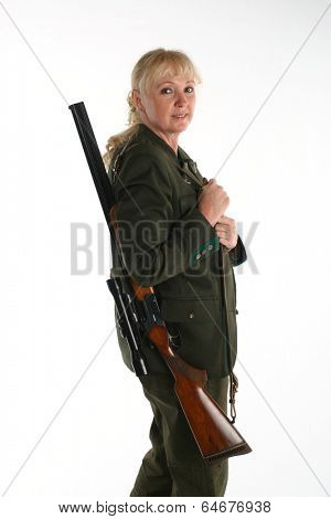 Female blonde huntress going hunting