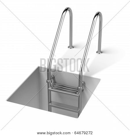 Stair and hole isolated on a white background. 3d render poster
