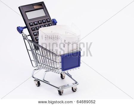Shopping till receipt calculator and cart