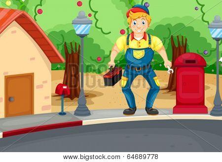 Illustration of a smiling mechanic