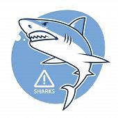 Illustration, evil shark warning sign, format EPS 8 poster