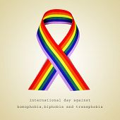 a rainbow ribbon and the sentence international day against homophobia, biphobia and transphobia poster