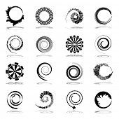 Spiral and rotation design elements. Abstract icons set. Vector art. poster