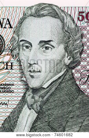 POLAND - CIRCA 1988: Frederic Chopin on 5000 Zlotych 1988 Banknote from Poland. Polish composer and virtuoso pianist.