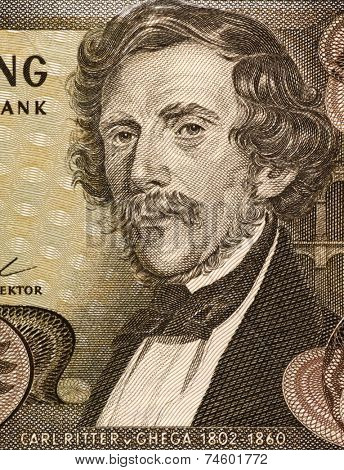AUSTRIA - CIRCA 1967: Carl Ritter von Ghega (1802-1860) on 20 schilling 1967 banknote from Austria. Designer of the Semmering Railway from Gloggnitz to Murzzuschlag.