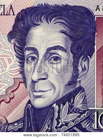 VENEZUELA - CIRCA 1998: Simon Bolivar (1783-1830) on 1000 Bolivares 1998 Banknote from Venezuela. One of the most important leaders of Spanish America's successful struggle for independence.