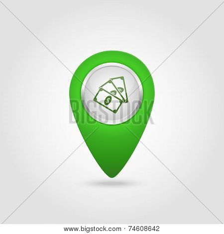 Vector location green icon with money sign  isolated on a white background poster