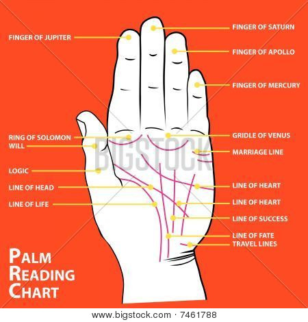 Palmistry map of the palm's main lines