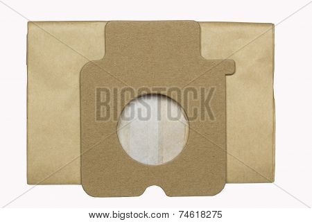 Dust bag for vacuum cleaner isolated on white background with clipping path poster
