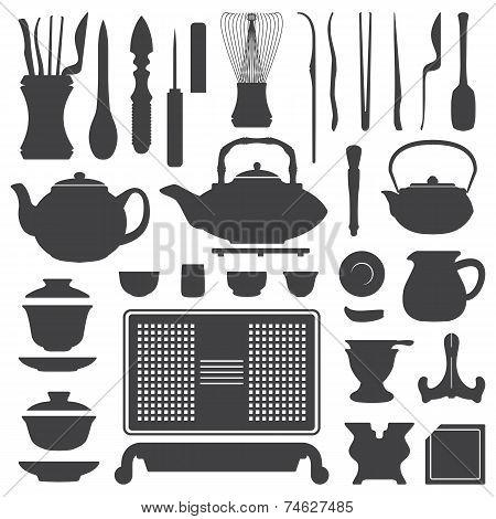 tea ceremony equipment silhouette set