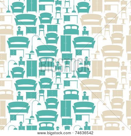 Interior seamless pattern with furniture in retro style. poster