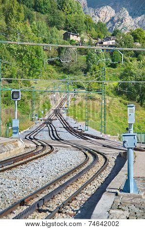 Rack Railway Railroad Tracks In Vall De Nuria, Spain