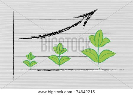 Metaphor Of Green Economy, Performance Graph With Leaves Growth