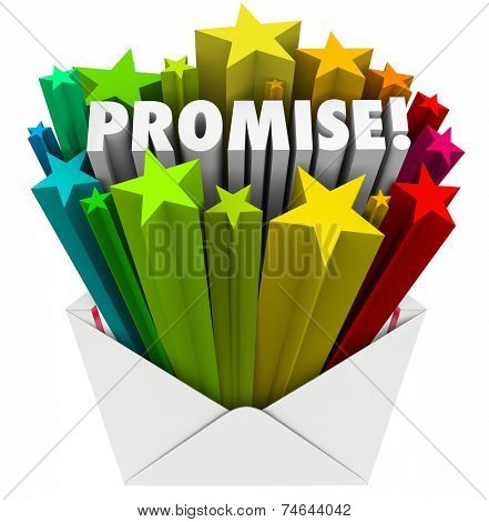 Promise word in an envelope to illustrate an oath, guarantee, vow, pledge or obligation to someone