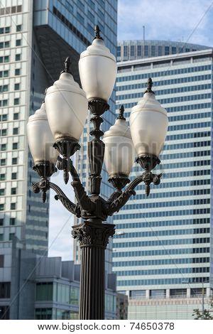 Old, Soc-realism Lantern In Center Of Warsaw