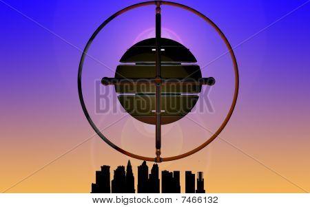 UFO above a city