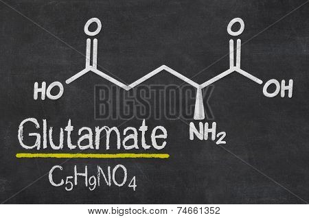 Blackboard with the chemical formula of Glutamate