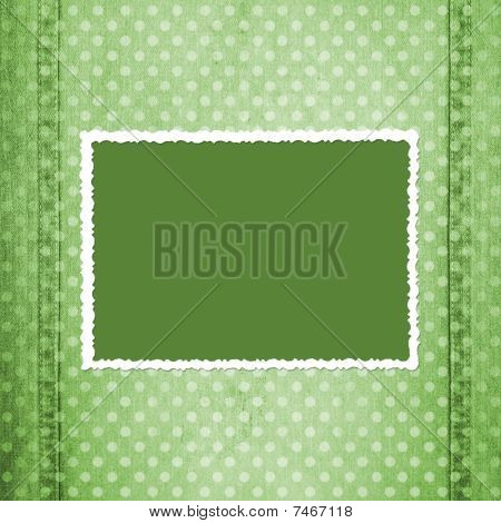 Abstract Green Jeans Background With Fretted Frame