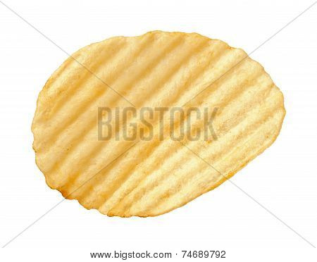 Potato Chip With Ridges Isolated