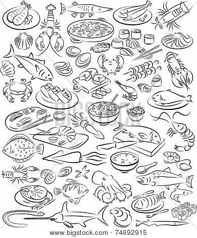 Раскраска мясо – картинки с нарисованными полуфабрикатами, в числе которых рулька, окорок, ощипанная курочка, кусочки рыбы и многие другие.