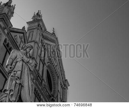 Dante Alghieri Statue In Front Of Basilica Of Santa Croce