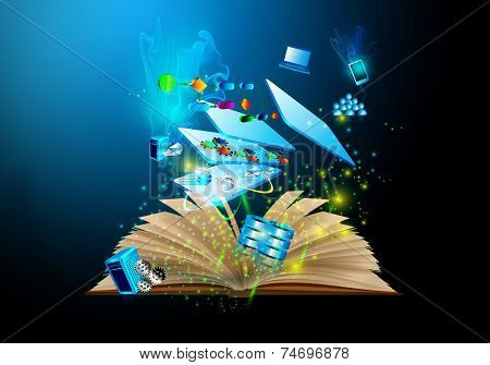 Book wizard, technology illustration