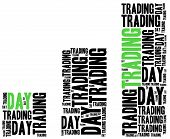 Day trading on stock market concept. Word cloud illustration. poster