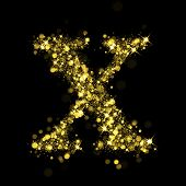 Sparkling Letter X on black background. Alphabet of golden glittering stars (glittering font concept). Christmas holiday illustration of bokeh shining stars character.. poster