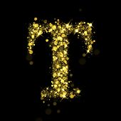 Sparkling Letter T on black background. Alphabet of golden glittering stars (glittering font concept). Christmas holiday illustration of bokeh shining stars character.. poster
