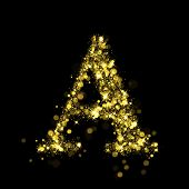 Sparkling Letter A on black background. Alphabet of golden glittering stars (glittering font concept). Christmas holiday illustration of bokeh shining stars character.. poster