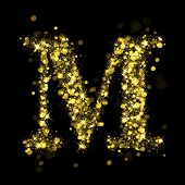 Sparkling Letter M on black background. Alphabet of golden glittering stars (glittering font concept). Christmas holiday illustration of bokeh shining stars character.. poster
