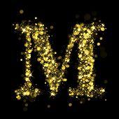 Sparkling Letter M on black background. Alphabet of golden glittering stars (glittering font concept). Christmas holiday illustration of bokeh shining stars character.. poster