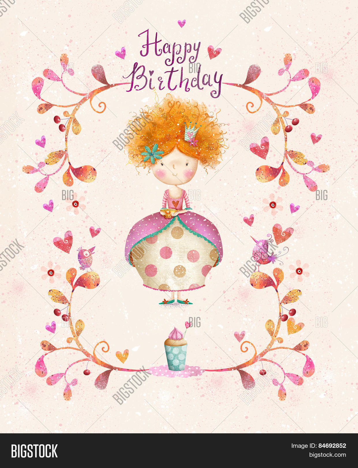 Happy Birthday Card In Cartoon Style Cute Small Princess With Cup Of Tea Flowers