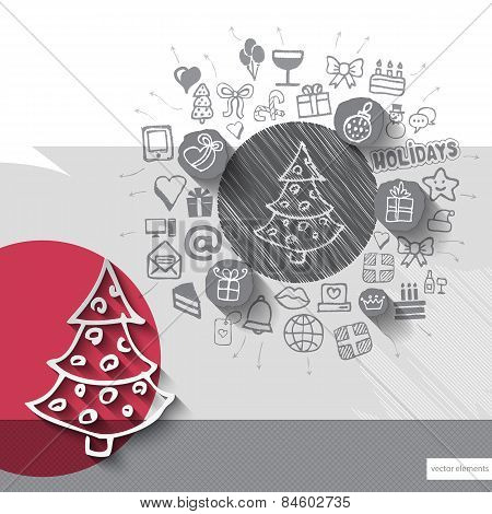 Hand drawn christmas tree icons with icons background