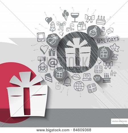 Hand drawn gift box icons with icons background