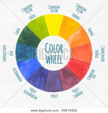 Watercolor wheel - vector illustration