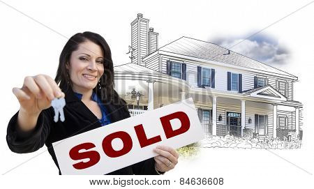 Hispanic Woman Holding Keys and Sold Sign Over House Drawing and Photo Combination on White.