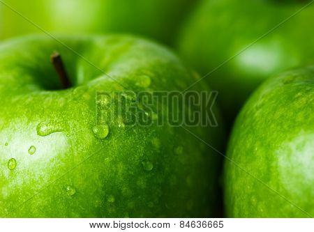 Green Apple Macro  Selective Focus