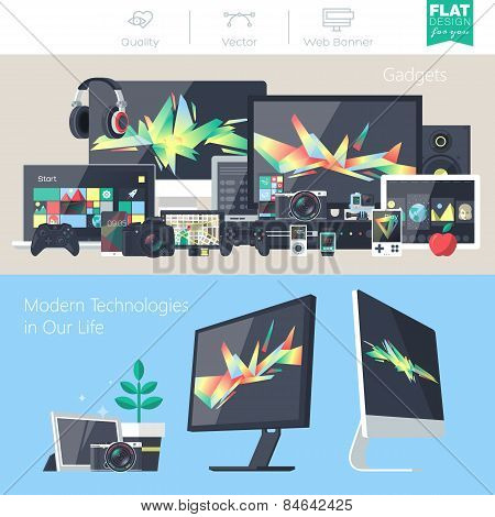 Set of flat design gadgets electronic devices mobile phone communications. Design items for business website design app promotional materials web and mobile banners. poster